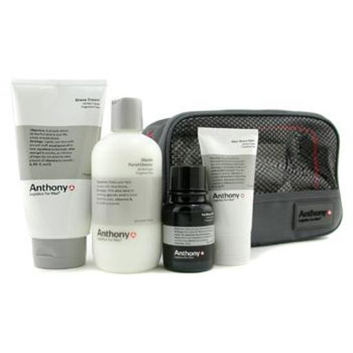 Logistics For Men The Perfect Shave Kit: Cleanser + Pre-Shave Oil + Shave Cream + After Shave Cream + Bag