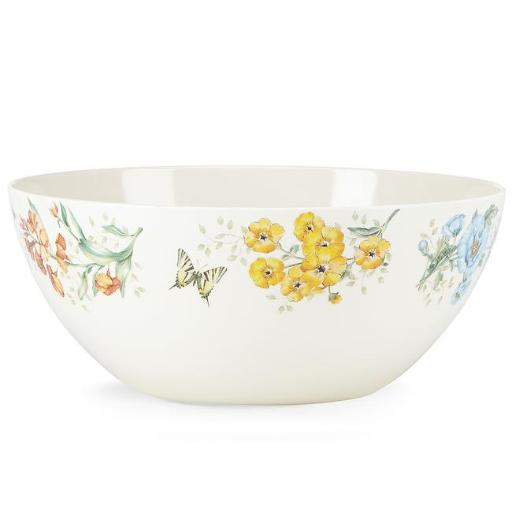 Lenox 855597 Butterfly Meadow Melamine Dinnerware Serving Bowl, Large, 4 mm