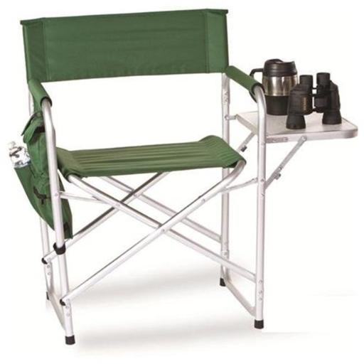 Picnic Plus PSM-110G Directors Sport Chair with Folding Side Table & Side Panel Pockets - GREEN