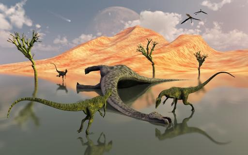 A pack of carnivorous Dilophosaurus scavaging a free meal in the form of a dead sauropod dinosaur, which died of natural causes back in Earth's. LW8D7QWID9TWLEKJ