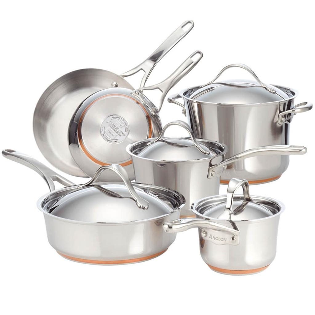 Anolon 75818 Nouvelle Stainless 10-Piece Cookware Set