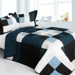 Ice City 3PC Vermicelli-Quilted Patchwork Quilt Set (Full/Queen Size)