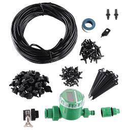 """Yescom 82 ft DIY Micro Drip Irrigation System Kit with Timer Dripper Automatic Watering 1/4"""" Distribution Tubing"""