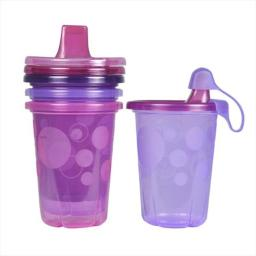 First Years Spill-Proof Sippy Cup, Pink Take And Toss, 4 Pack
