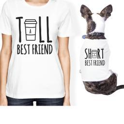 Tall Short Cup Small Pet Owner Matching Gift Outfits White T-Shirts