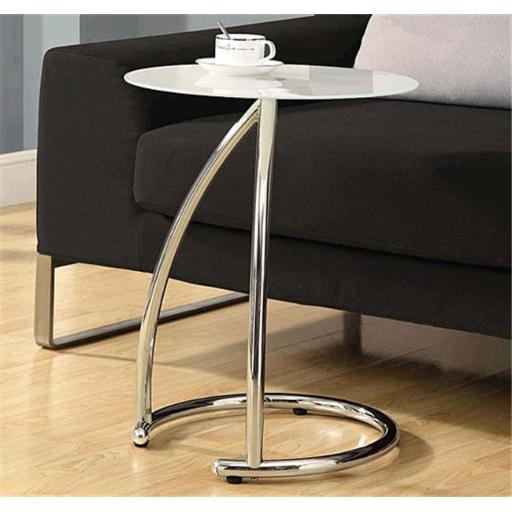 Monarch Specialties I 3003 Chrome Metal Accent Table With Frosted Tempered Glass