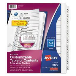 Customizable Toc Ready Index Black And White Dividers 26-Tab Letter   Total Quantity: 1