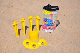 Beachtacs Yellow, 8pc Set Includes Carrying Tote with Inside Pouch Beach Tacs