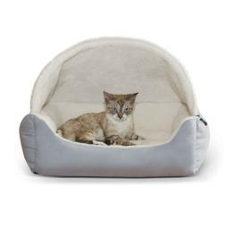 K&H Pet Products 7605 Gray K&H Pet Products Lounge Sleeper Hooded Pet Bed Gray 20 X 25 X 13
