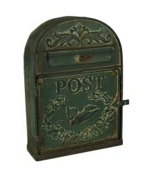 Rustic Green Vintage Style Decorative Metal Post Box