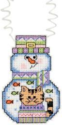"Holiday Wizzers Snowman With Cat Counted Cross Stitch Kit-3""X2.25"" 14 Count 21-1191"