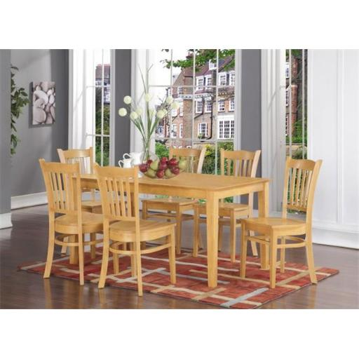 East West Furniture CAGR6-OAK-W 6 Piece Kitchen Table With Bench Set- Dining Table and 4 Kitchen Chairs and Bench