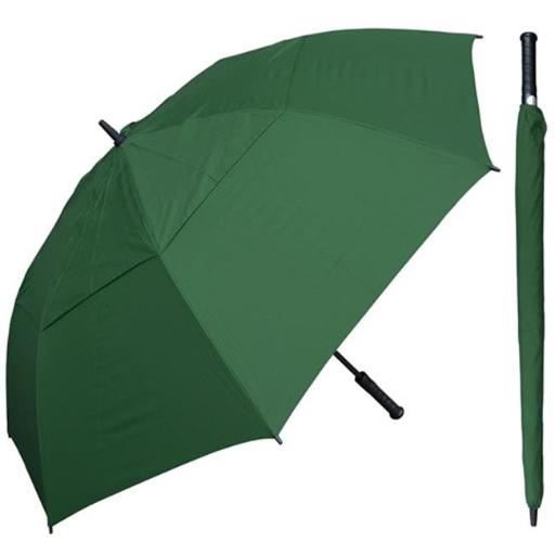 RainStoppers W030G 60 in. Auto Open Green Wind Buster Golf Umbrella with Golf Grip Handle, 6 Piece