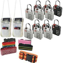 Travel Accessories Kit With Security Straps, Locks And Pouches