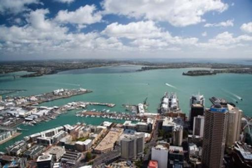 View of Waitemata Harbor from Skytower, Auckland, North Island, New Zealand Poster Print by David Wall