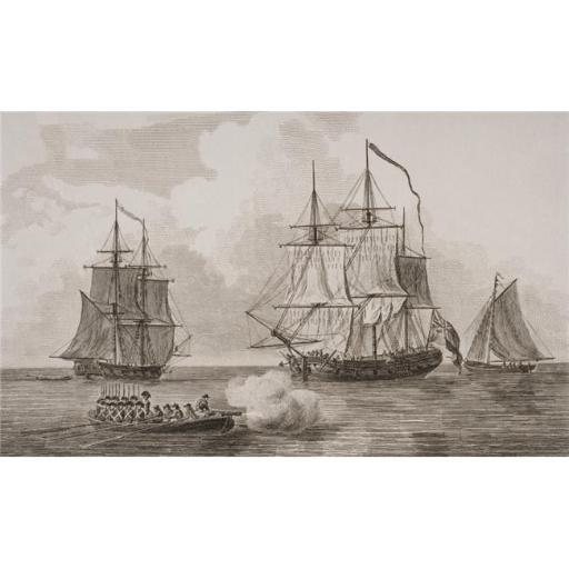 Posterazzi DPI1857031 British Men of War From Left, Fire Brig, Flat Bottomed Boat, Gun Vessel, Man of War Long Boat From A Print Dated 1820 Engraved b