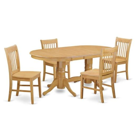 East West Furniture VANO5-OAK-W Dining Dining Table & 4 Chairs, Oak