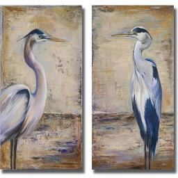 Artistic Home Gallery 1224679S Blue Heron I & II by Patricia Pinto Premium Stretched Canvas Wall Art Set - 2 Piece 1224679S