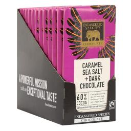 Endangered Species - Dark Chocolate Bars Box 60% Cocoa Sea Salt & Caramel