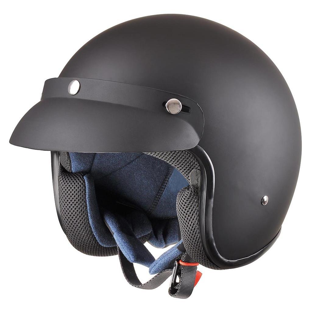 AHR RUN-O Vintage Retro 3/4 Open Face Motorcycle Helmet with Removable Snap on Visor DOT Approved Matt Black XL
