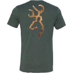 Browning a000321830105 bg men's t-shirt antler bckmrk logo x-large heather forest<