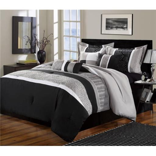 Chic Home 43CK112-US Euphoria Embroidered Comforter Set - Black - King - 8 Piece