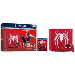 Playstation 4 Pro Marvel's Spider-Man Limited Edition Amazing Red 1TB Console with Extra Crystal Red Dualshock Wireless