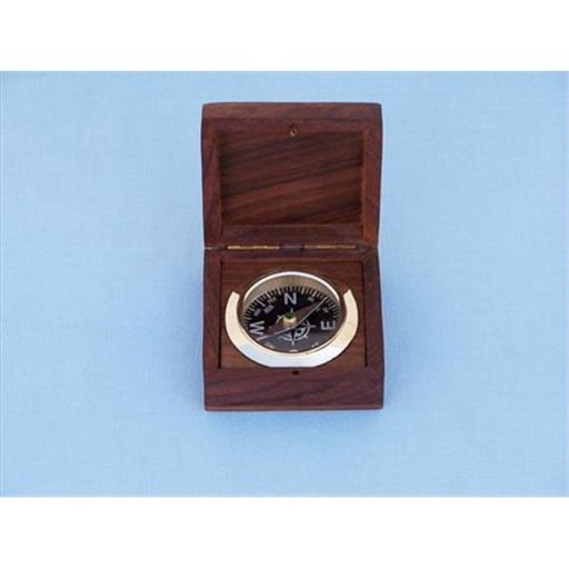Solid Brass Black Desk Compass With Rosewood Box 3 in. Compasses Decorative Accent