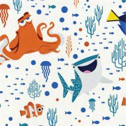 "Disney Finding Dory-Camelot Design 44/45"" Cotton 15Yd D/R-Characters & Coral - White"