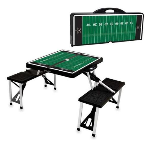 Picnic Time 811-00-175-585-0 Vanderbilt University Commodores Digital Print Portable Folding Picnic Table with Four Seats, Black