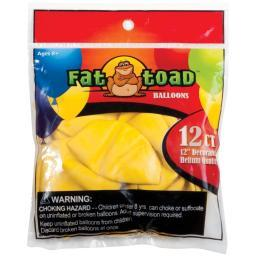 "Fat Toad Balloons Round 12"" 12/pkg-yellow"