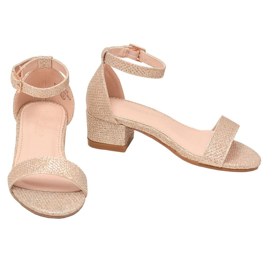 b23c5537ab3 Lov Mark Girls Champagne Shimmery Low Block Heel Open Toe Sandals 11-4 Kids