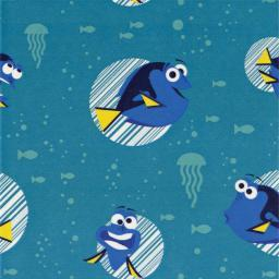 "Disney Finding Dory-Camelot Design 44/45"" Cotton 15Yd D/R-Dory Faces - Turquoise"