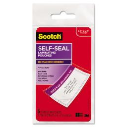 """Self-Sealing Laminating Pouches 12.5 Mil 2.81"""" X 4.5"""" Gloss Clear 5 Per Pack   1 Pack of: 5"""