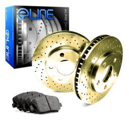 FRONT Gold Edition Cross-Drilled Brake Rotors & Ceramic Brake Pads FGX.62037.02