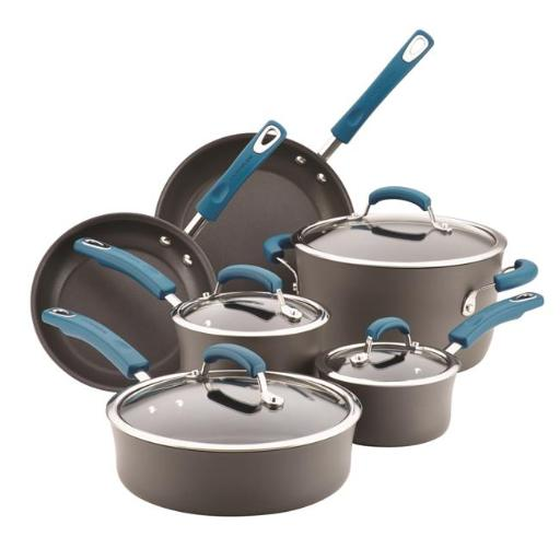 Rachael Ray 87650 10 Piece Hard-Anodized Aluminum Nonstick Cookware Set with Marine Blue Handles, Grey