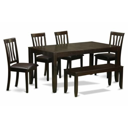 East West Furniture LYAN6-CAP-LC 6 Piece Kitchen Table With Bench-Dining Room Table and 4 Dining Chairs and Bench