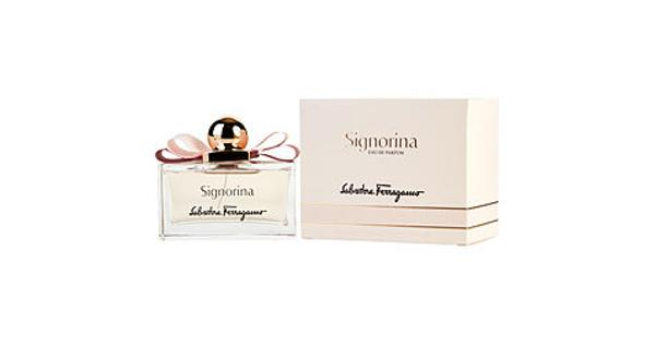 Salvatore Ferragamo Women Salvatore Ferragamo Signorina Edp Spray 3.4 Oz(Pack Of 1) Women Salvatore Ferragamo Signorina EDP Spray 3.4 ozIntroduced by the design house of Salvatore Ferragamo in 2011, This fruity fragrance possesses a blend of pink pepper, jasmine, peony, rose, pannacotta, musk, and patchouli. It is recommended for casual wear.