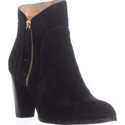 Adrienne Vittadini Taki Zip-Up Booties, Black Suede