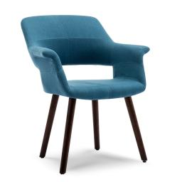 BELLEZE Accent Chair Living Room Armchair Linen Mid-Century Style Armrest Curved with Wooden Leg, Blue