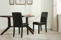 Belleze Leatherette Black Padded Parson Style Chair Dining Set Furniture (Set of 2)