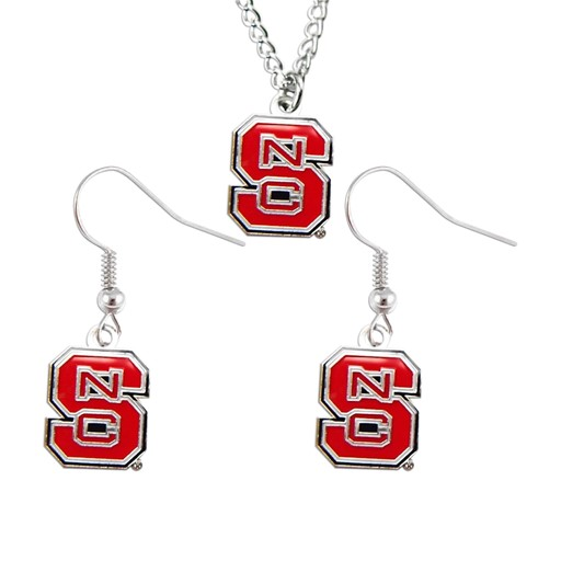NCAA North Carolina State Wolfpack Necklace And Dangle Earings Charm Set