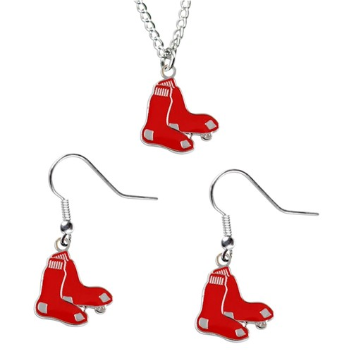 MLB Boston Red Sox Sports Team Logo Necklace and Dangle Earring Charm Set