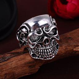 Punk Vintage Trend Men's Ring Gothic Men Skull Flower Biker Zinc Alloy Ring - 10, sa977