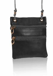 AFONiE Leather Crossbody Handbag with Multiple Compartments