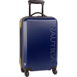 Nautica Hardside Carry On Luggage - 20 Inch Spinner Wheels Suitcase Lightweight Rolling Travel Bag for Under Seat, Navy/Yellow