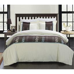 Chic Home 3-Piece Victoria Embroidered Contemporary Duvet Set, King, Beige