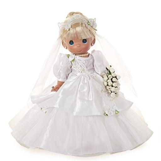 Precious Moments Dolls by The Doll Maker, Linda Rick, I Do, Bride, Blonde, 12 inch Doll And A Small Child Shall Lead them. This incredible doll comes with her favorite animal friends including a elephant, giraffe, lion, horse, bunny and duck.*All vinyl doll created with the finest materials.*Once upon a time there was a doll made just for you. Designed by Linda Rick, The Doll Maker*Officially licensed Precious Moments Doll