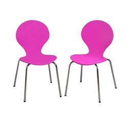 Gift Mark Modern Childrens 2 Chair Set with Chrome Legs - Purple Color