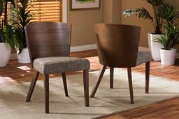 "Baxton Studio Sparrow Brown and ""Gravel"" Wood Modern Dining Chair"